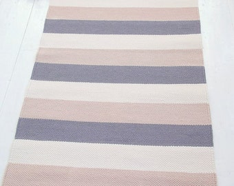 Grey, beige, ivory striped rug, cotton rug, handmade, washable, woven on the loom, made to order