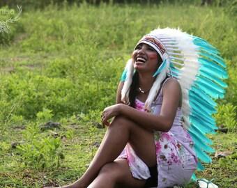 Feather indian headdress replica, medium length, green teal feathers headdress, boho  headdress