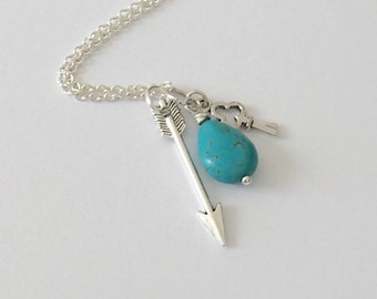 Silver Arrow Necklace/Turquoise Stone Necklace/Silver Key Necklace/Antique Silver Arrow, Key, and Turquoise Stone Necklace