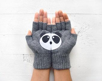 Fingerless Gloves, Panda Gift,  Gift, Panda Gloves, Panda Lover Gift,  Day Gift, Mitten For Her, Women Gift, Birthday