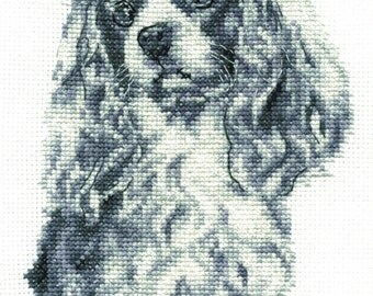 DMC BK1688 King Charles Cavalier Cross Stitch Kit from the Dogs Collection