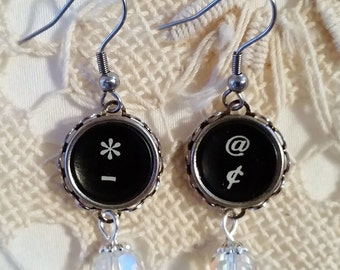 Antique Typewriter Key Jewelry, Black Punctuation Dangle Earrings, At, Cent, Dash, Asterisk Symbol Earrings, Stainless Hoooks, Crystal Bead