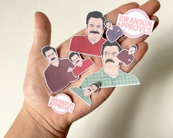 Ron Sticker Pack, Ron Swanson Sticker Pack Mixture, 9 Parks and Recreation Inspired Ron Stickers In Different Sizes, Handmade Ron Stickers