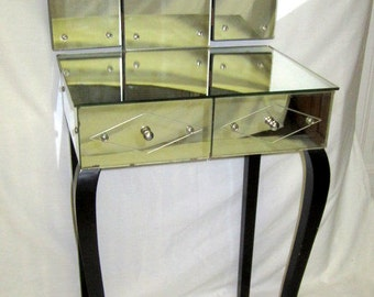 Rare and Unusual 1930's Art Deco Mirrored Vanity with Attached Trifold Mirror