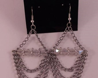 Candlesticks clear and chains earrings