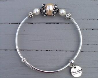 Light Peach Swaovski Crystal Pearl Braceet