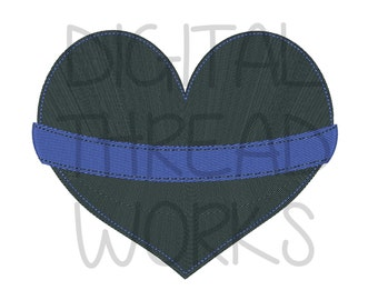 Police Thin Blue Line Heart Embroidery Design for 4x4 5x7 and 6x10 Inch Hoops. Instant Download. Support Law Enforcement. Item# TBLH01