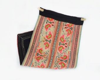 Vintage Hmong Dress Patch Trim - Embroidered Hill Tribe Textile Fabric Piece from the Hmong - Hill Tribe Dress Hmong Clothing Apron Patch