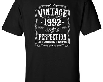 25th in 2017 Birthday Gift For Men and Women - Vintage 1992 Aged To Perfection All Original Parts T-shirt Gift idea. More colors N-1992