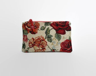 Makeup bag, clutch, evening clutch,  evening purse,  gobelin clutch,  zippered pouch, zippered purse, romantic  pouch, tapestry clutch,