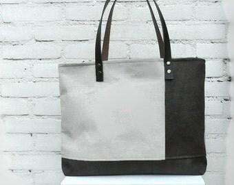 Zippered tote bag, trendy shoulder bag,  vegan leather bag, natural linen, laptop bag, roomy tote bag, every day bag, leather straps