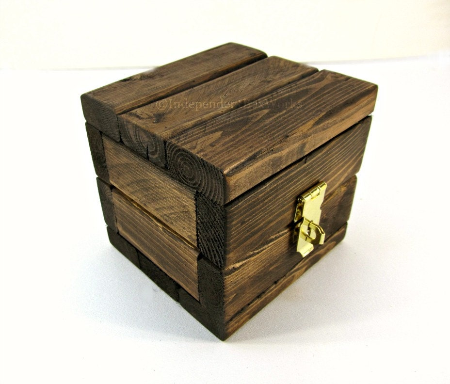 Small wooden gift box handmade rustic mini cube box with - Small rustic wooden boxes ...