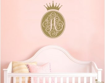 PERSONALIZED Princess Initial Monogram Baby Nursery Wall Decal