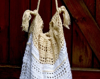 bag accessories white cotton bag unbleached  hand made crochet bag