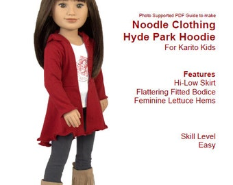 Karito Kid Doll Clothing PDF Pattern- Hyde Park Hoodie fits 20 inch dolls