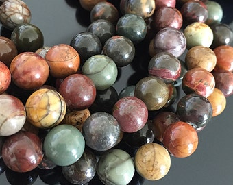 Genuine Red Creek Jasper Beads, Multicolor Natural Jasper Beads, Round Gemstone Mala Beads, Beads For Mala Making, 8mm - 25 beads  (ST-04)