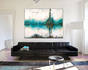 Abstract Art Extra Large, Abstract Painting Custom Wall Art, Drip Painting, Earth Tones, Teal Brown Gold, Textured Painting