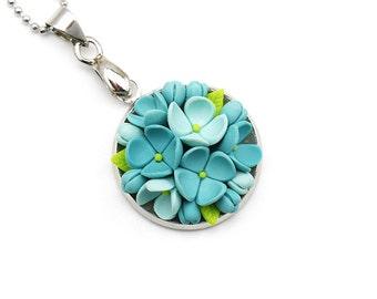 Polymer Clay Jewelry Polymer Clay Necklace Pendant Clay Jewelry Fashion Jewelry Floral Pendant Necklace Turquoise Pendant Clay Flowers Gift