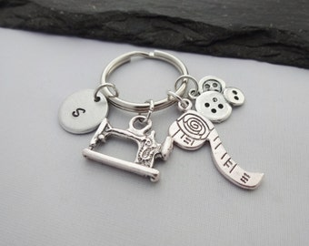 Sewing Keyring, Initial Sewing Keyring, Hand Stamped, Sewing Gifts, Dressmaker Gifts, Sewing Machine, Personalised Keyring, Keychain, Charm