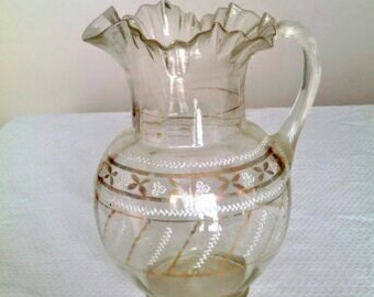 Antique Victorian Hand Blown Clear Glass Pitcher With Pontil on Bottom