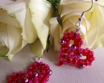 Hand Beaded Red/ Pink Pearl Heart Earrings