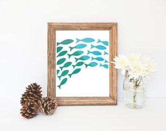 Fish Print, 8x10 Instant Download, Fish Art, School of Fish Print, Blue Nursery Printable, Nursery Wall Art, Blue Nautical Decor