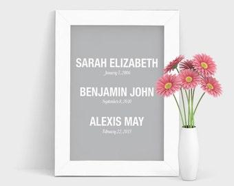 Kids names print, Personalized Kids Print, Mother's Day Gift, Children's Names, Personalized Art, Grandkids Print, Kids Birthdays Print