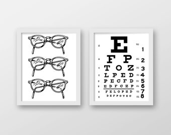 Vision Art Print Set - Eye Exam Art - Office Decor - Optometry Art - Wall Art - Set of 2