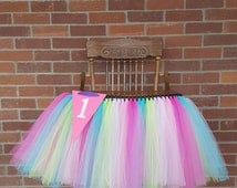 Beautiful Highchair Tutu, Highchair Banner, Princess Party, Birthday Tutu, Cake Smash Banner, First Birthday Party,Table Tutu, Trending Now