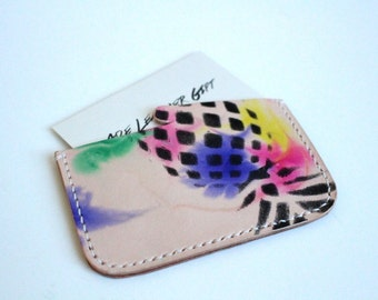 Leather business card case, hand painted card holder, pineapple business card case, leather card case