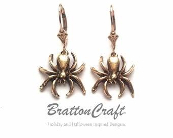 Gold Spider Charm Earrings - Halloween Earrings - Spider Earrings - Halloween Jewelry - Spider Jewelry