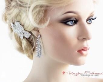 CZ Art Deco Crystal Silver Bridal Chandelier Earrings, Cubic Zirconia Earrings, Bridal Post Earrings