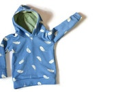 Hoodie organic cotton boy: blue with green grey leaves and cosy warm green hood. Slit fit model. Unique sweater for tough little toddlers!