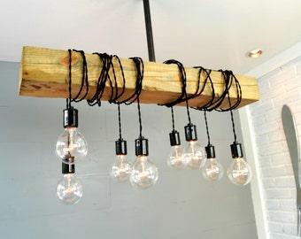 Lighting - Industrial Lighting - Wood Light - Reclaimed Light -Fixture - Bar Light - Industrial Chandelier - Ceiling light - Home Lighting