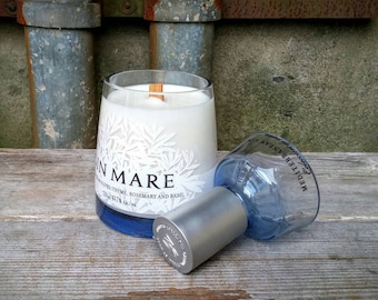 Unique Scented Decor Candle, Recycled Glass Spanish Gin Mare Bottle