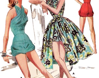 1956 Swim or Play Suit & Skirt - A 1950's Favorite!  EvaDress Patterns
