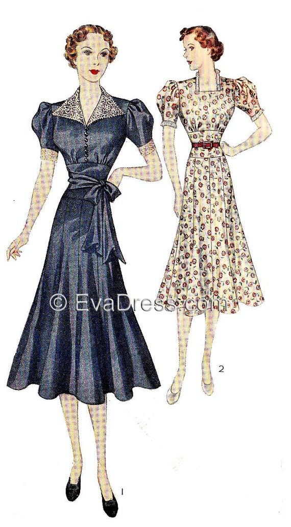 1930s Fashion Colors & Fabric 1938 Frocks Pattern by EvaDress $15.00 AT vintagedancer.com