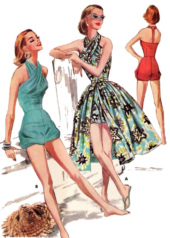 40s-50s Vintage Playsuits, Jumpsuits, Rompers History 1956 Swim or Play Suit & Skirt - A 1950s Favorite!  EvaDress Patterns $20.00 AT vintagedancer.com