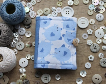 blue PIGS needle book/ cute piggies travel size sewing kit/ fully equipped sewing accessories case/ funny sewing kit pastele blue needlebook