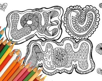 Mom coloring page, mother coloring page, love u mom card, mom printable card, zentangle coloring page, mother's day card, printable card