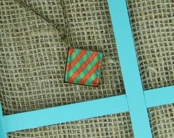 Favorite Christmas sweater square glass pendant antique bronze necklace