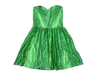 Adult Tinkerbell Inspired Leaf Sweetheart Skater Dress