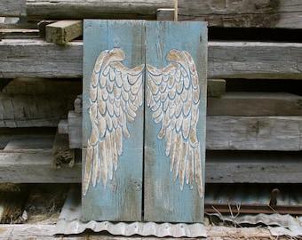 Angel Wings, Wood Angel Wings, Wing Wall Decor, Recycled Wood Angel Wings, LARGE Angel Wings, Wood Sculpted,Wall Decor, Nursery Gift