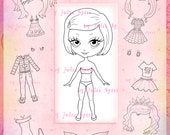 Paper Doll, Digital stamps, Girl stamps, Digi, Closet, Hairstyles, Shoes, Clothes, Big Eyes, Coloring, Crafting, Dress. Paper Doll Samantha