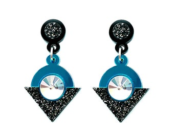 Eclipse Earrings - Perspex teal mirror acrylic geometric Swarovski cabochons