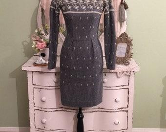 XXS Mr Mort 50s Dress, Charcoal Gray, 1950s Vintage Dress, Long Sleeve Ornate Embroidered Dress, Grey Pencil Off Shoulder Vintage Dress