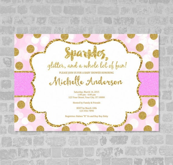 pink and gold girl baby shower invitation pink and gold baby, Baby shower invitations