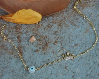 Evil eye Bracelet,Gold Evil eye,Gold Bracelet,Protection Bracelet,Good Luck,Crown Sideways,Ivory Evil Eye,Gold Crown,Gold jewelry,Birthday