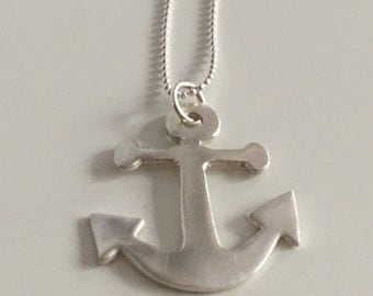 Anchor pendant, necklace, naval pendant, fine silver with sterling silver chain