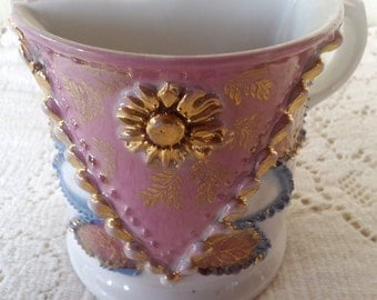 Shaving Mug painted gold, pink, and blue unmarked